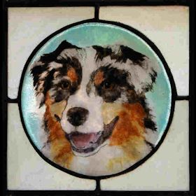 australian shepherd fused glass suncatcher