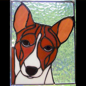 basenji stained glass suncatcher