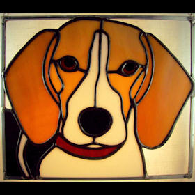beagle dog stained glass suncatcher