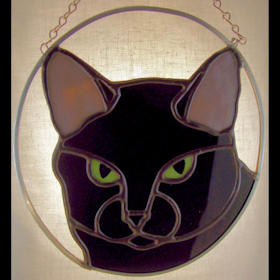 black cat pattern for stained glass suncatcher