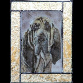 bloodhound fused glass suncatcher