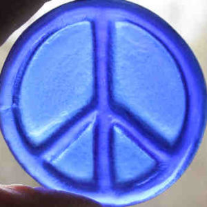 recycled glass roundel blue peace sign