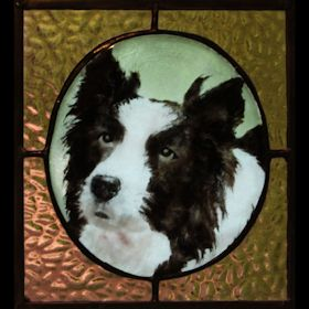 border collie fused glass suncatcher