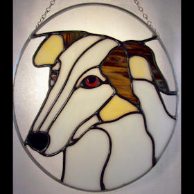 borzoi stained glass suncatcher