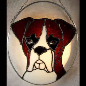 boxer dog stained glass suncatcher