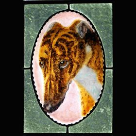greyhound brindle fused glass suncatcher portrait