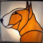 bull terrier dog stained glass suncatcher