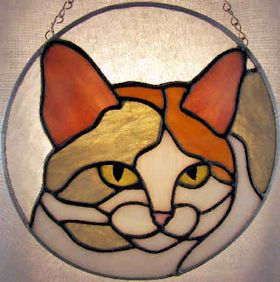 calico cat pattern for stained glass suncatcher