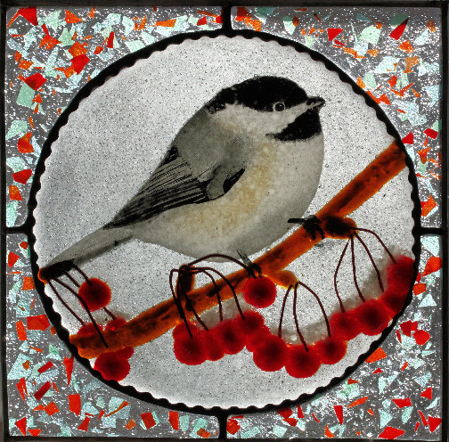 chickadee stained glass panel