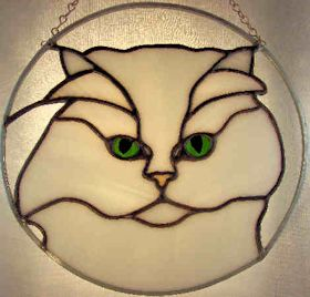 chinchilla persian cat portrait in stained glass