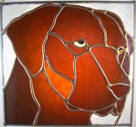 chocolate labrador retriever dog stained glass suncatcher