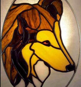 collie dog stained glass suncatcher
