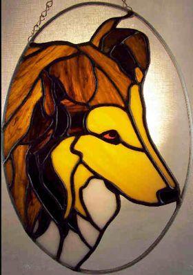 collie dog stained glass suncatcher