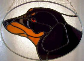 dachshund dog stained glass suncatcher