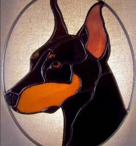 doberman pinscher dog stained glass suncatcher