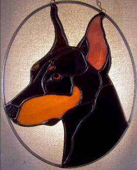doberman pinscher dog stained glass suncatcher