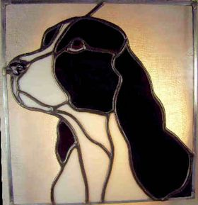 english springer spaniel dog stained glass suncatcher