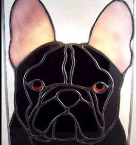 french bulldog suncatcher stained glass