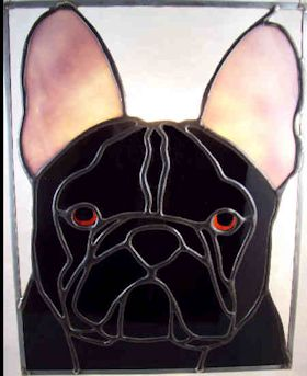 french bulldog suncatcher stained glass