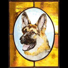 german shepherd fused glass suncatcher