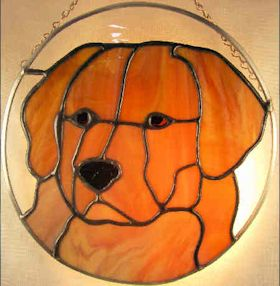 golden retriever dog stained glass suncatcher