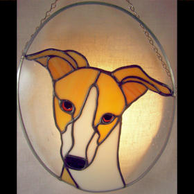 fawn greyhound dog stained glass suncatcher