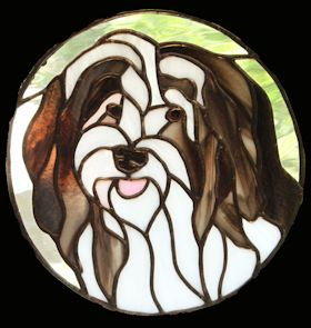 havanese dog stained glass suncatcher