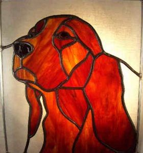 irish setter dog stained glass suncatcher