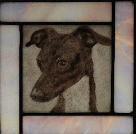 italian greyhound fused glass suncatcher