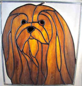 lhasa apso dog stained glass suncatcher