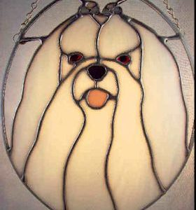 maltese dog stained glass suncatcher