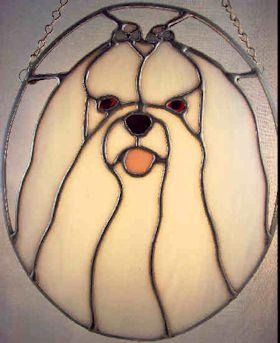 maltese dog stained glass suncatcher