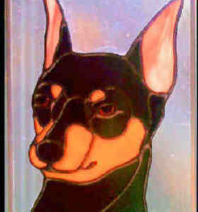 miniature pinscher dog stained glass sunctcher