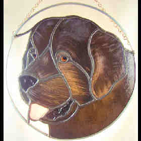 newfoundland dog stained glass suncatcher