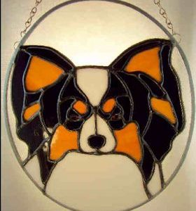 papillon dog stained glass suncatcher pattern