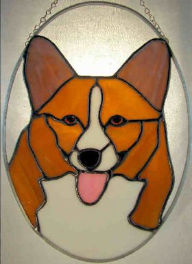 pembroke corgi stained glass suncatcher