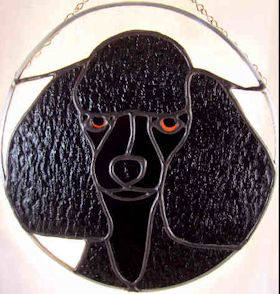 black toy poodle stained glass suncatcher
