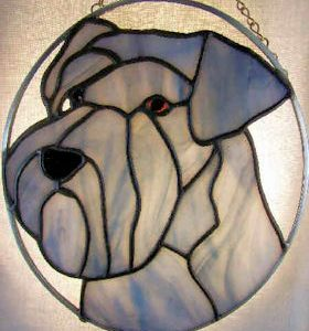 miniature schnauzer dog stained glass suncatcher