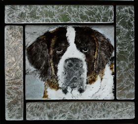 saint bernard dog fused glass portrait