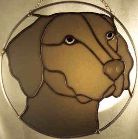 weimaraner stained glass suncatcher