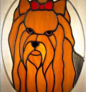 Yorkshire terrier stained glass and yorkshire terrier pattern for a stained glass suncatcher