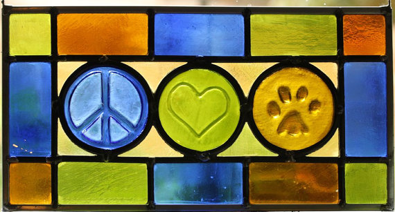 peace love dogs stained glass panel