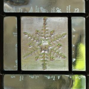 snowflake triptych in leaded glass