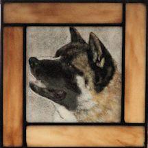 akita dog in profile fused glass suncatcher