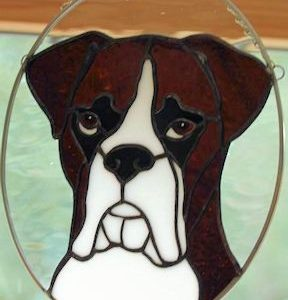 boxer dog suncatcher with ears down