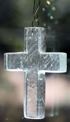 glass cross christmas ornament