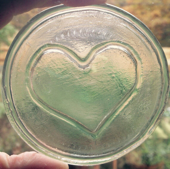 clear heart roundel in recycled glass