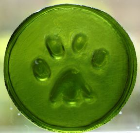 recycled glass paw print