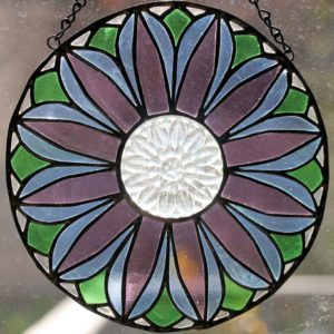 clear, blue, purple, green recycled glass flower panel