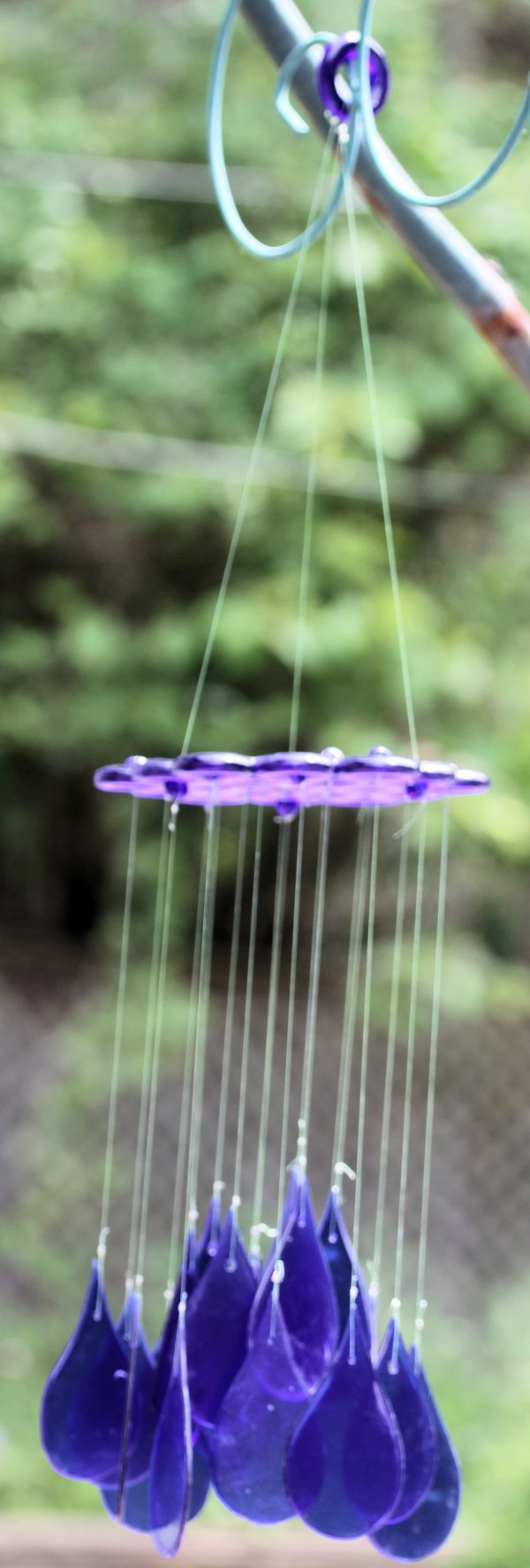recycled glass raindrop wind chime